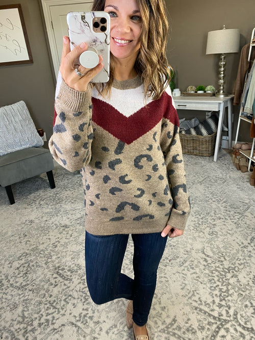 Wishing For Taupe, Burgundy and Ivory Leopard Colorblock Sweater