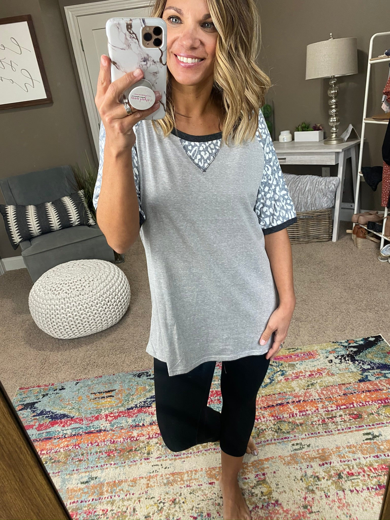 Take It Easy Heather Grey Hacci Tee with Charcoal Cheetah Shoulders