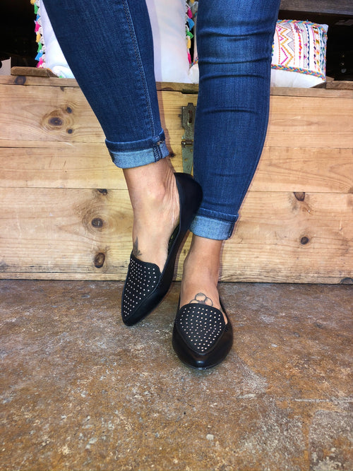 Win The Day Pointed Toe Studded Flat - Black