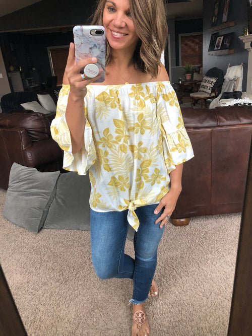 Leave Me Breathless Off Shoulder Front Tie Top- Ivory Floral