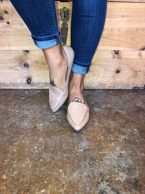Win The Day Pointed Toe Studded Flat - Toffee