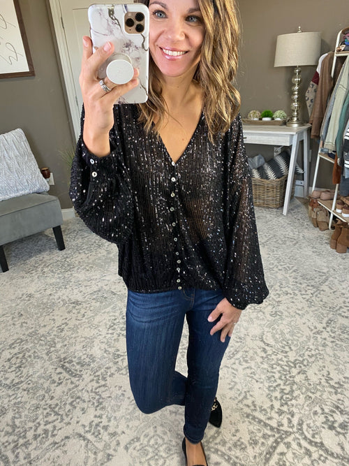 Pop The Champagne Sequin Button VNeck Blouse--Multiple Options