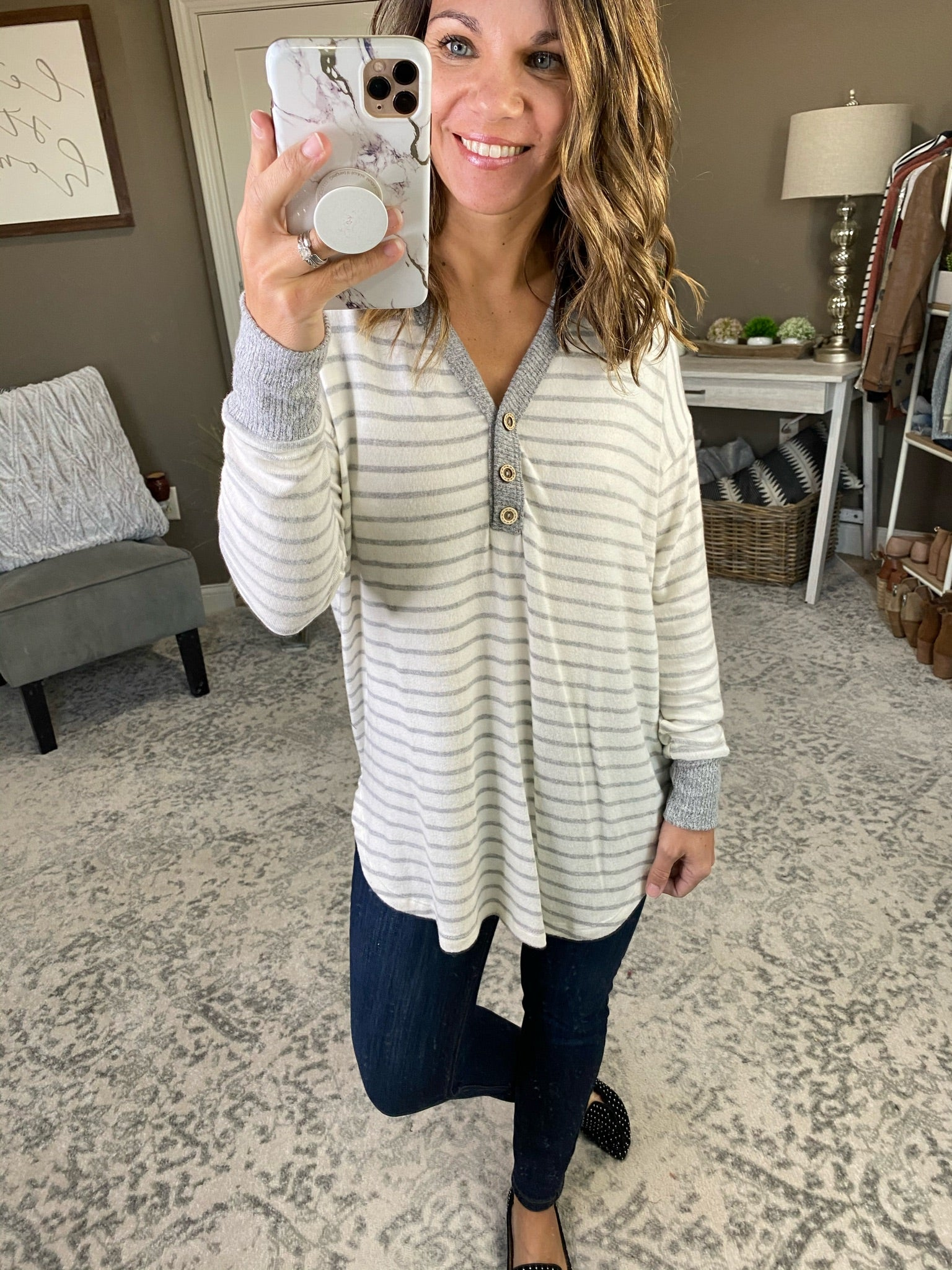 I Promise Striped Button V-Neck Brushed Fleece Long Sleeve- Multiple Options