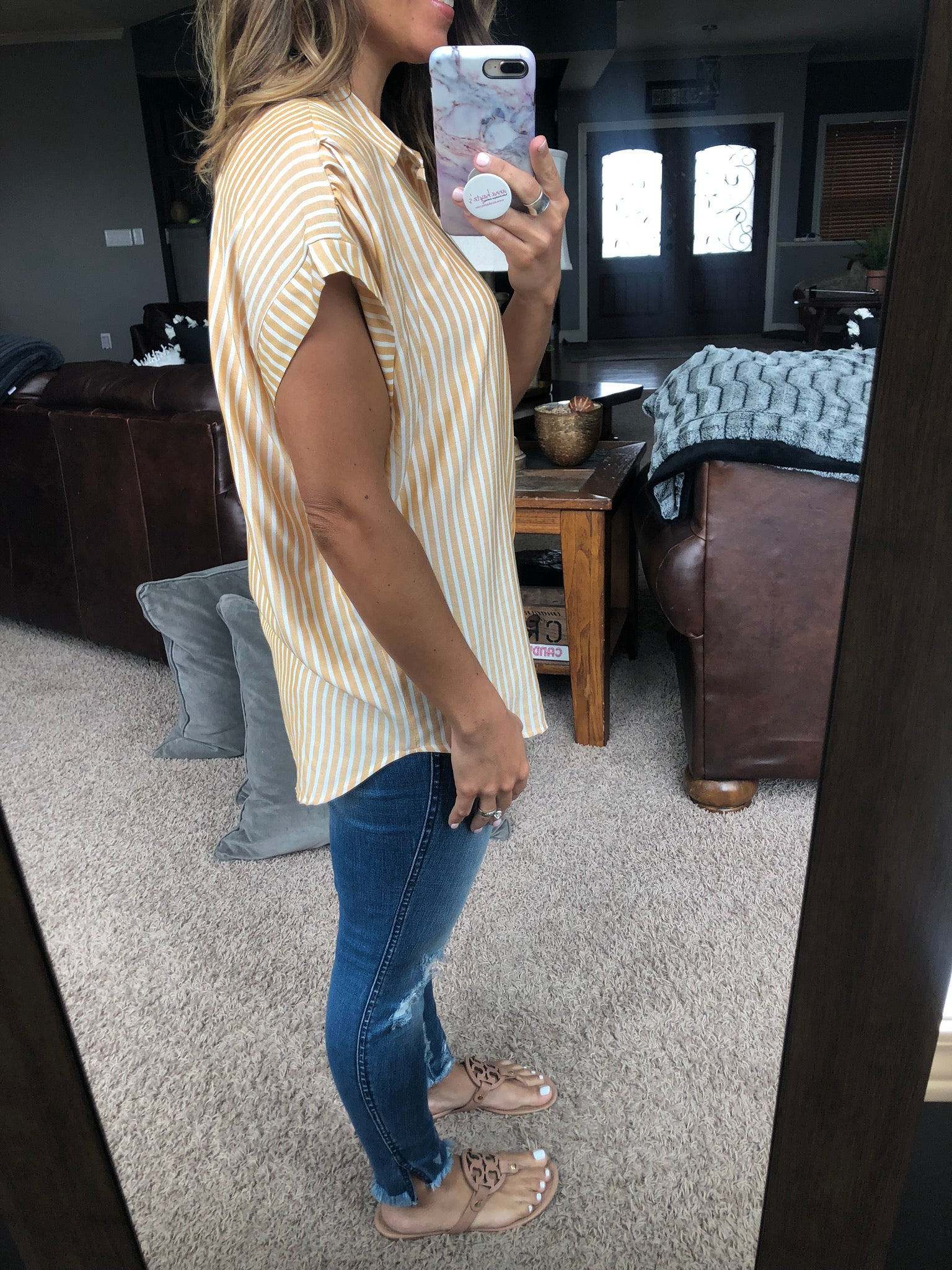 Give Your All Yellow and Ivory Boyfriend Button Down Tee