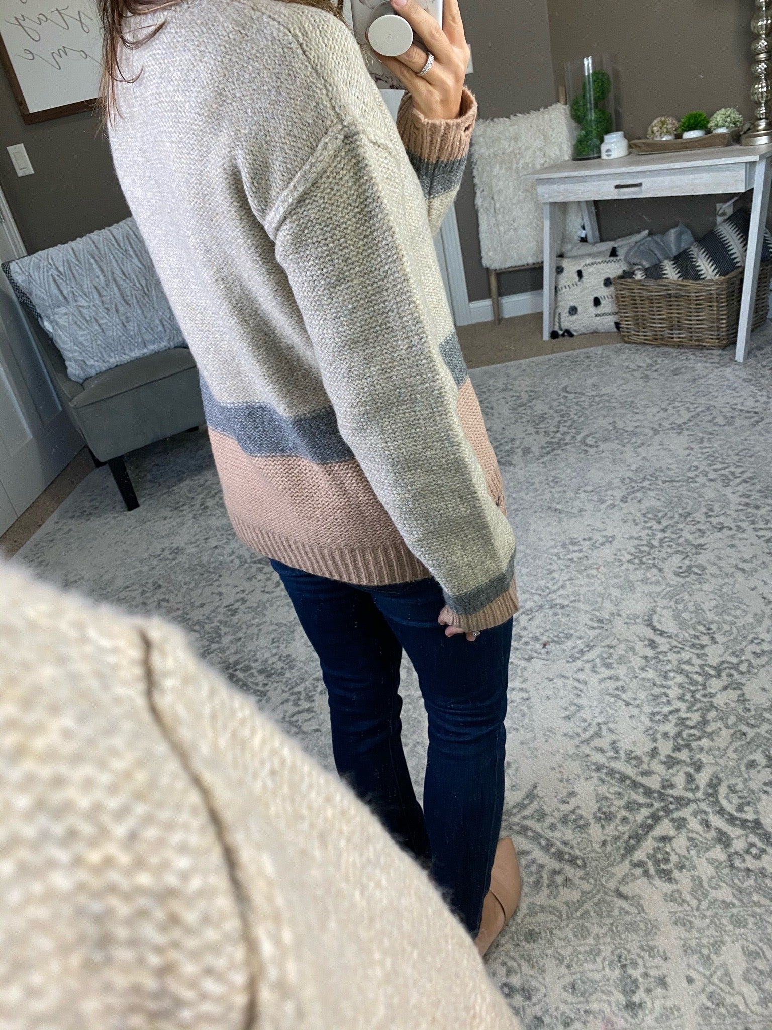 Living The Dream Oatmeal, Grey & Blush Distressed Crew Sweater