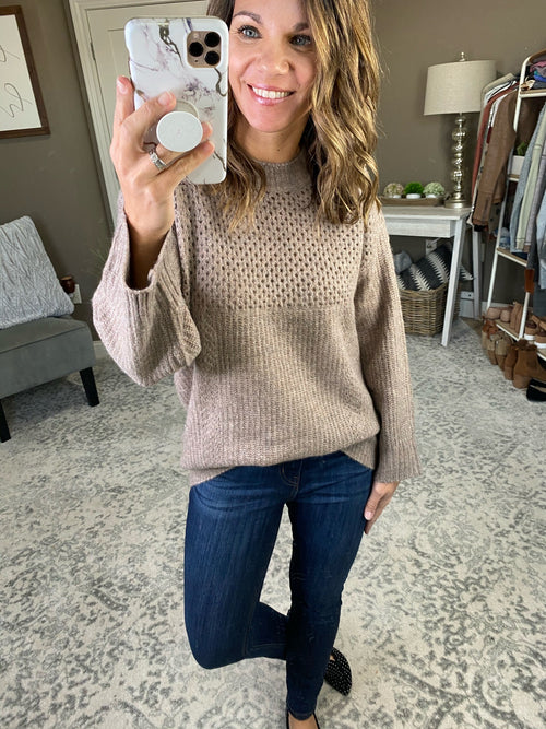 Montana Skies Mocha Knit Sweater with Eyelets