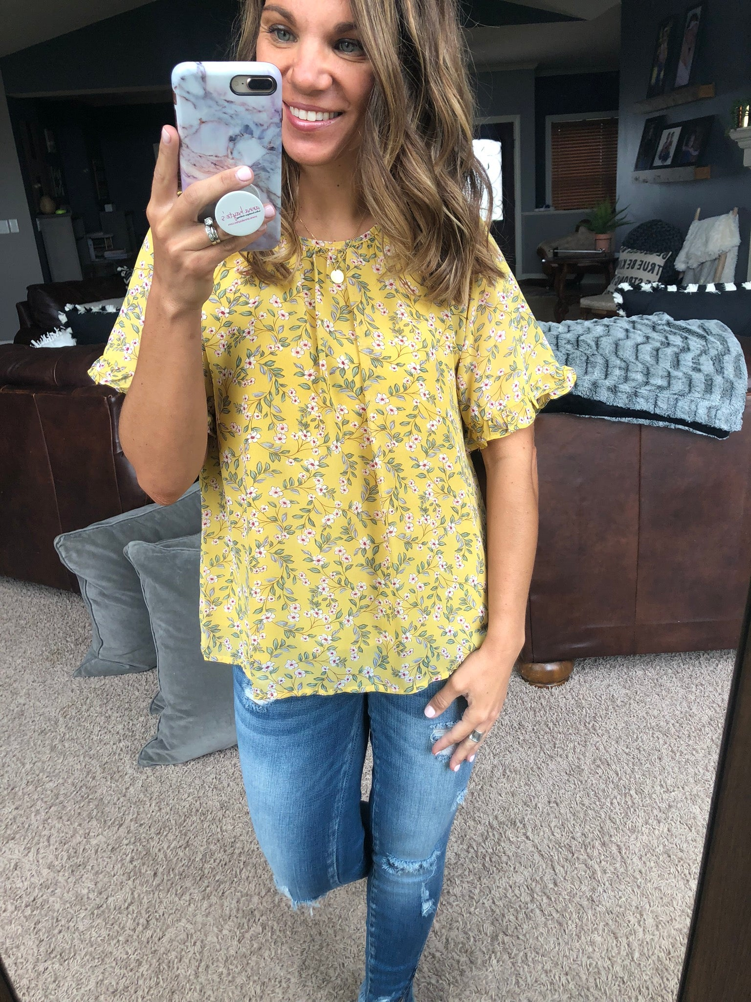 Strength In Numbers Green Floral Yellow Blouse