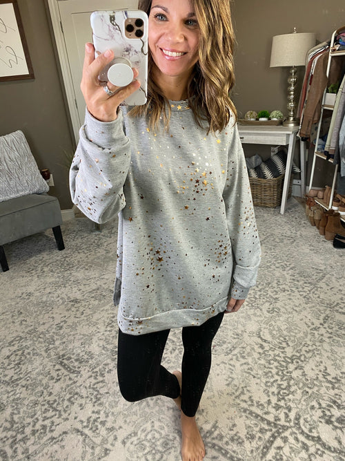 Among The Stars Grey Crew Sweatshirt with Split Hem