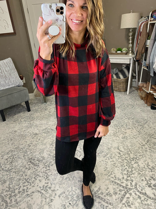 Under The Mistletoe Red & Black Buffalo Plaid Long Sleeve with Crochet Tie Back