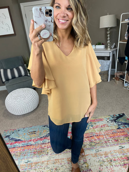Rising Up V Neck Blouse with Flutter Sleeve- Mustard