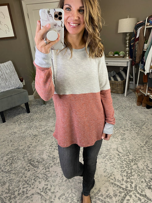 Heart Of Glass Heather Grey and Mauve Colorblock Brushed Fleece Long Sleeve