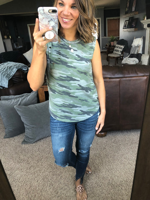 Caught In The Mix Distressed Camo Sleeveless Top