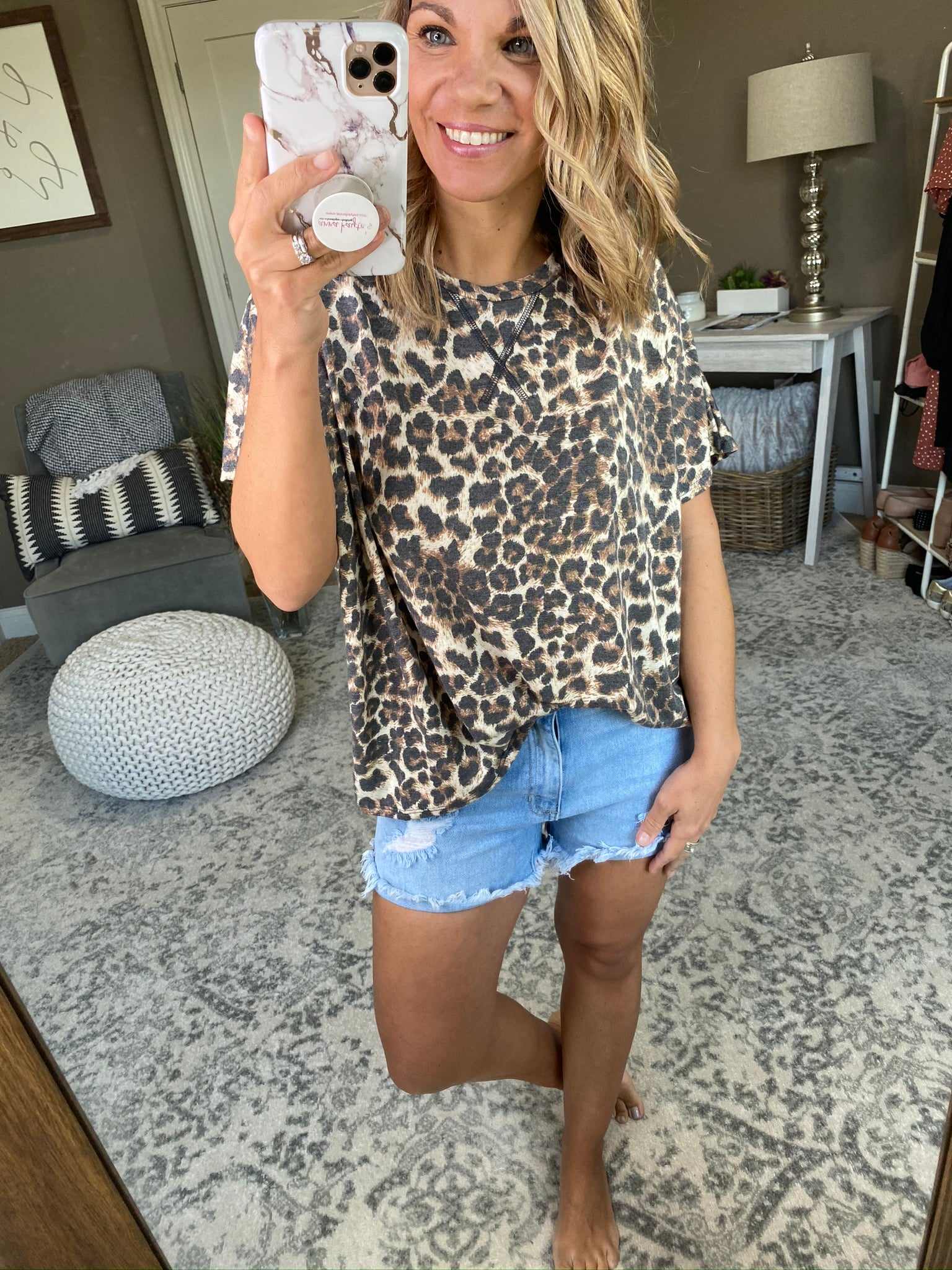 Hung Up On You Leopard Drop Shoulder Tee