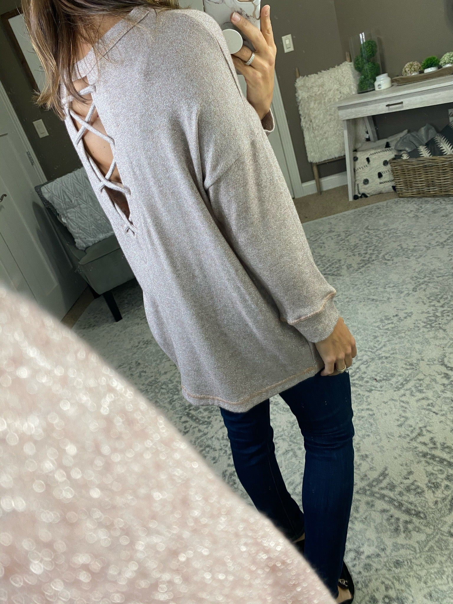 Add A Little Spice Sparkle Long Sleeve With Criss Cross Open Back- Multiple Options