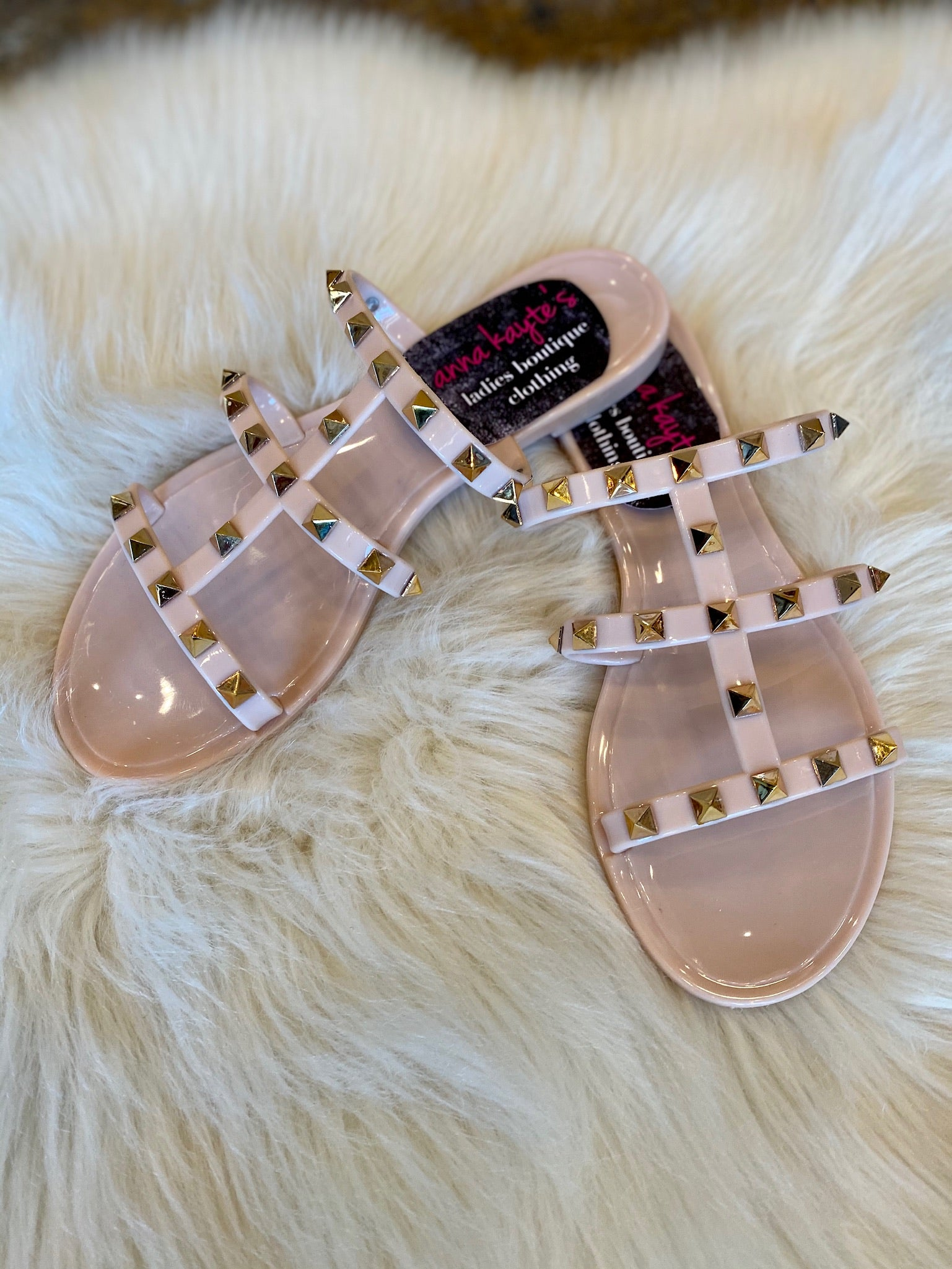 Tell Me About It Stud Triple Strap Jelly Sandals with Studs- Multiple Colors