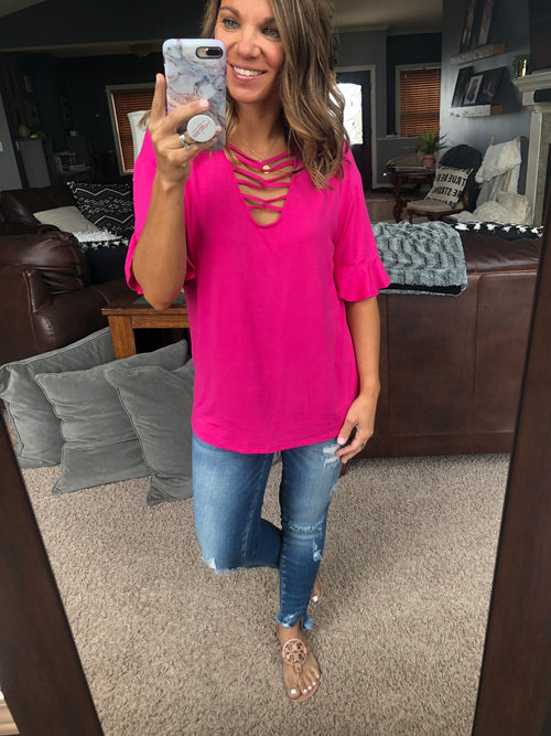 Great Strides Hot Pink Criss Cross Top w/ Ruffle Sleeves