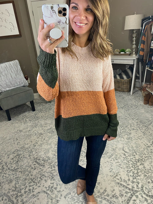 All I Ever Knew Olive, Cream and Medallion Colorblock Knit Crew Sweater