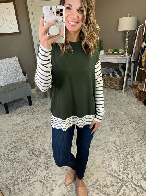 Traveler Crew Lightweight Sweater with Striped Sleeves & Hem--Multiple Options