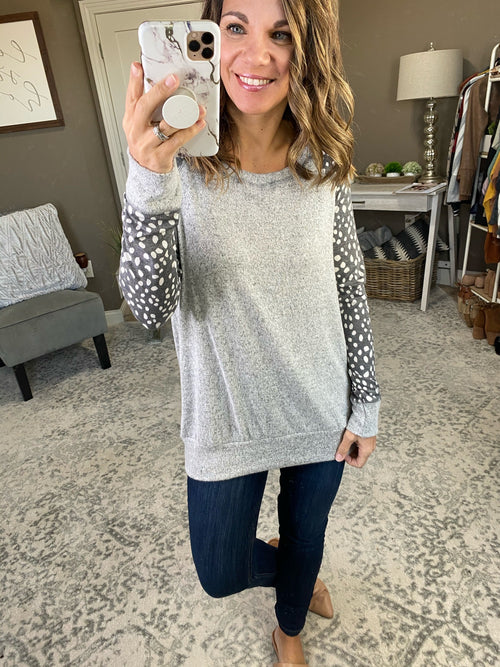 On The Dot Heather Grey Crew with Grey and Ivory Spotted Long Sleeve