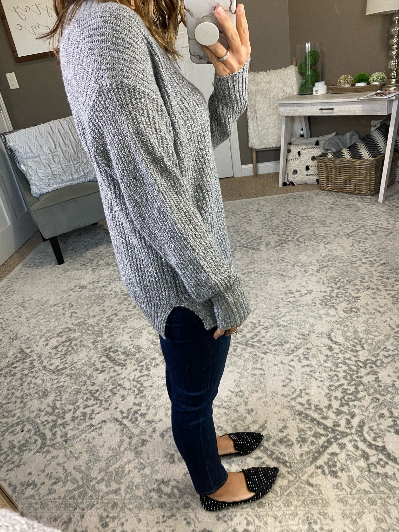 Local Honey Ribbed V Neck Sweater With Lace Detail--Multiple Options