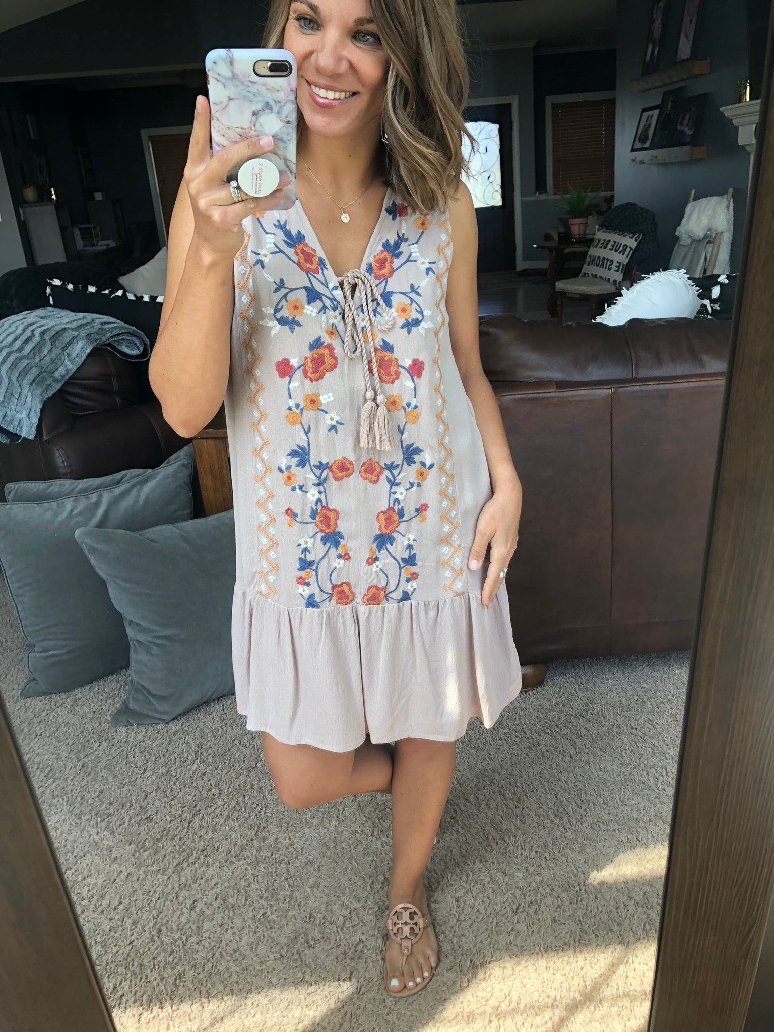 In a Hurry Embroidered Dress w/ Tassel Tie
