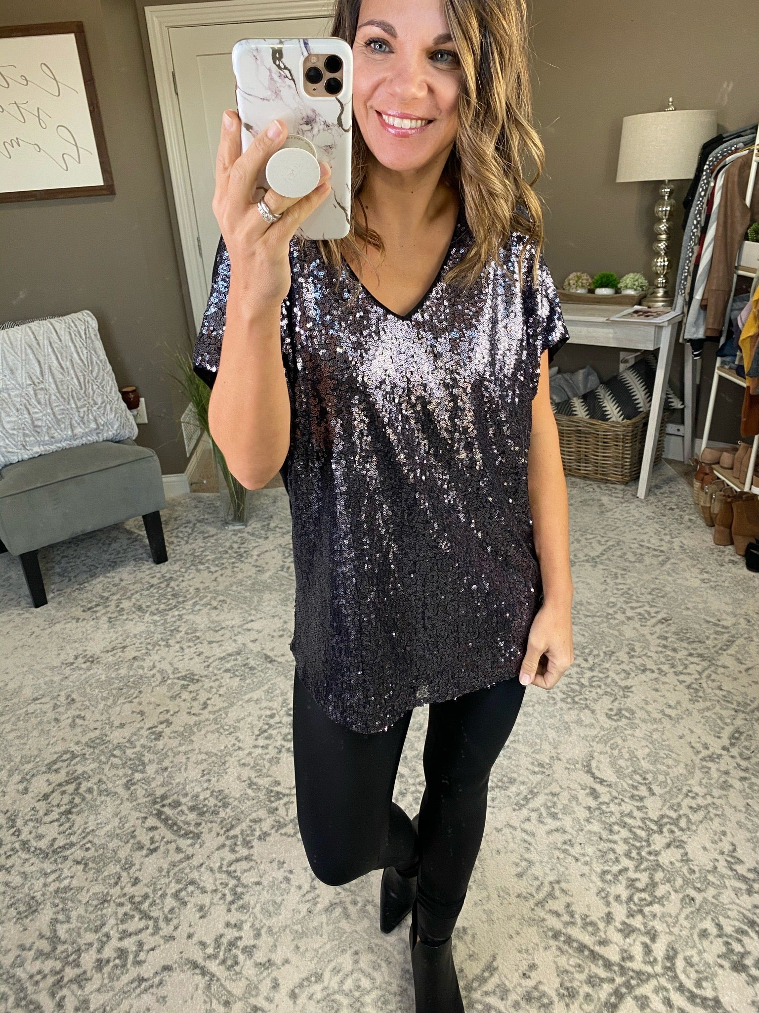 Silver Bells Sequin V-Neck Tee- Multiple Options