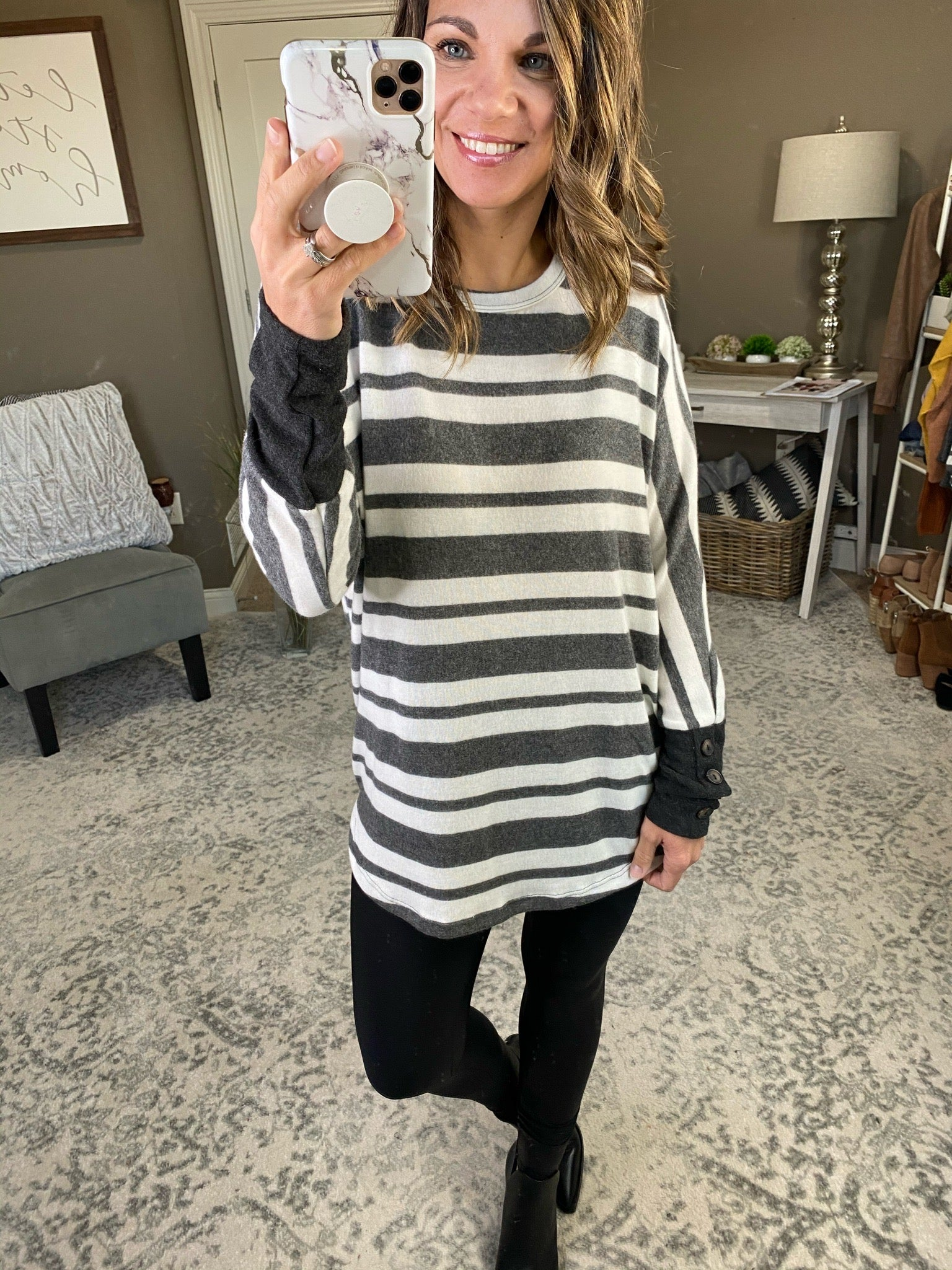 Staying Late Striped Brushed Fleece Long Sleeve with faux button cuffs- Multiple Options