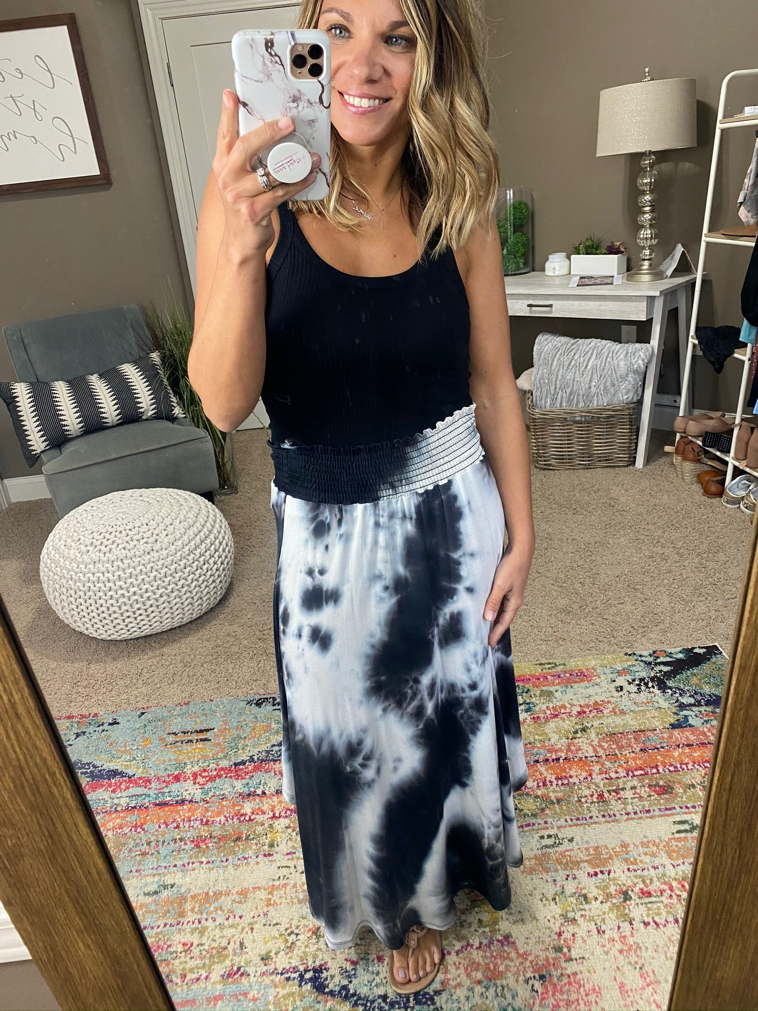 Get Next To You Black and White Marbled Maxi Skirt