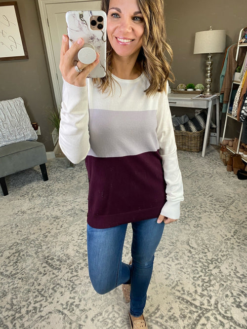 Time Goes By Color Block Sweater with Side Buttons