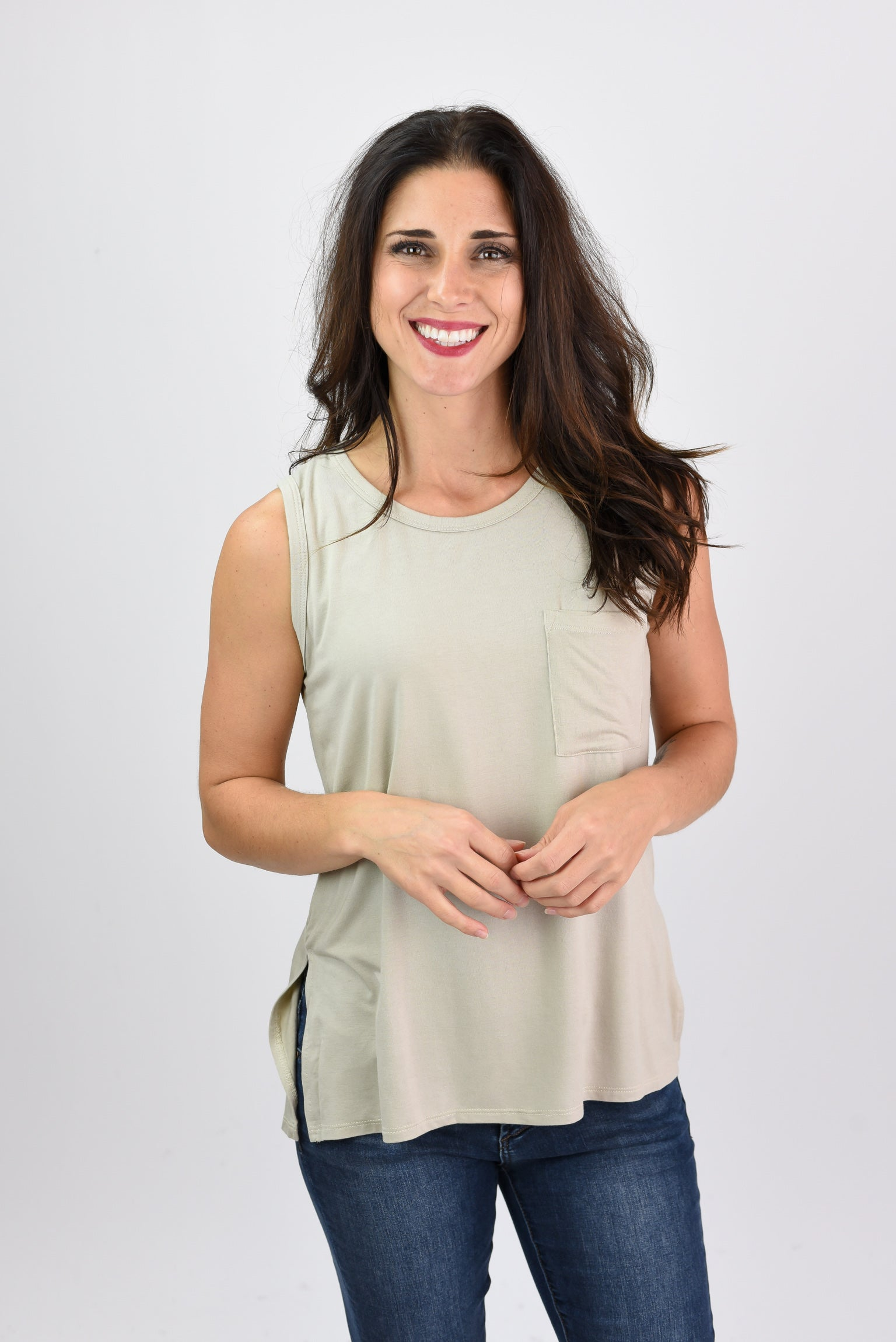 Local Hideaway Boatneck Pocket Tank - Taupe