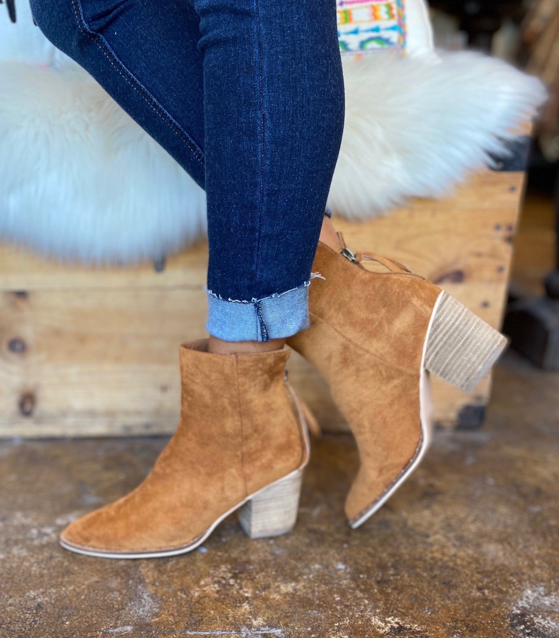 Walk Away Faux Suede Camel Ankle Bootie with Brass Studded Sole Detailing