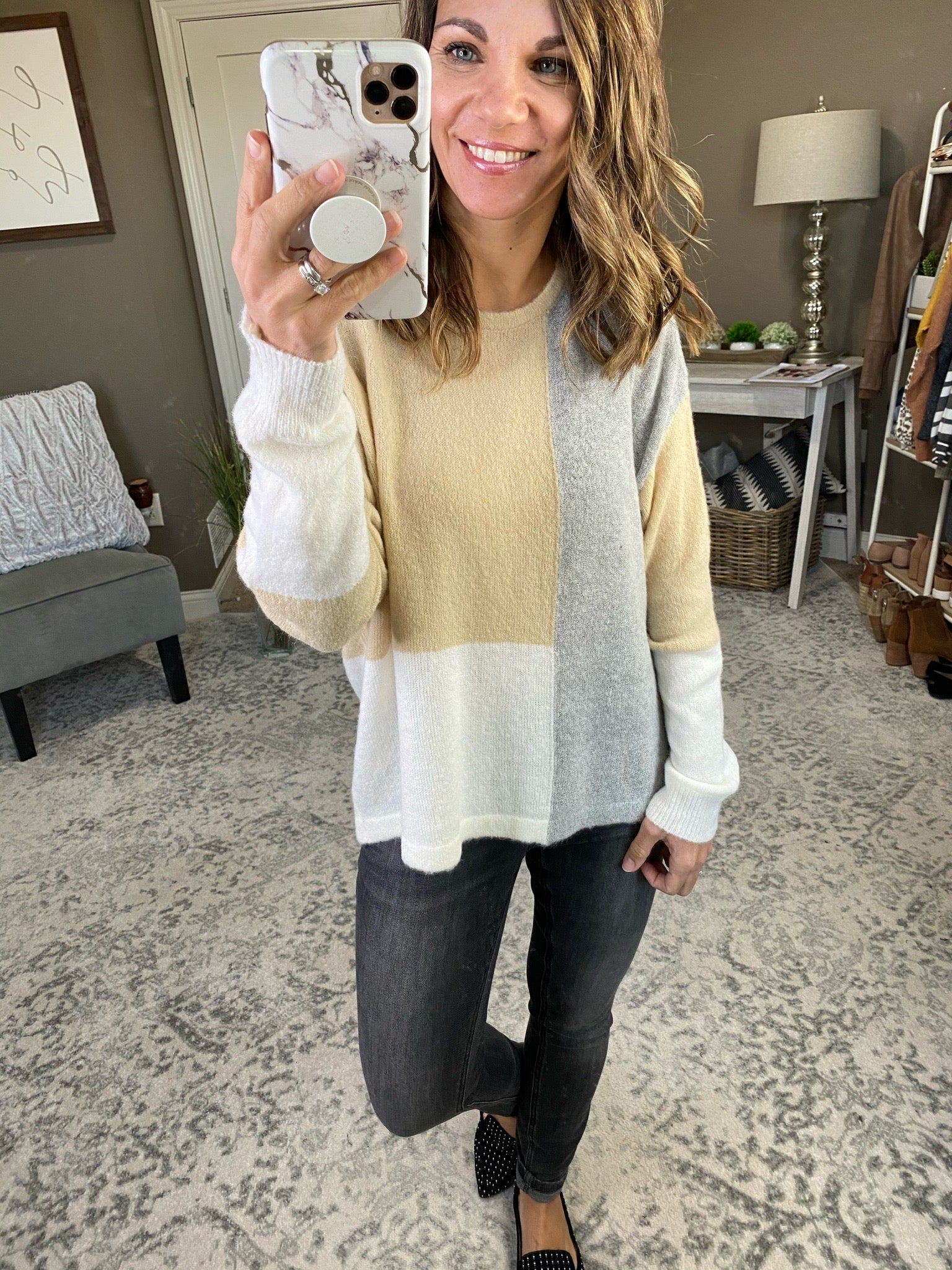 Long Haul Grey, Taupe & White Colorblock Crew Sweater