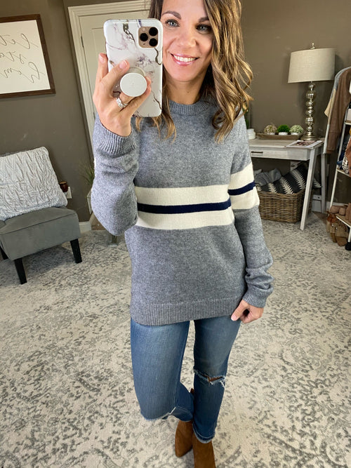 Go Ahead Grey Crew Sweater with White and Navy Stripe