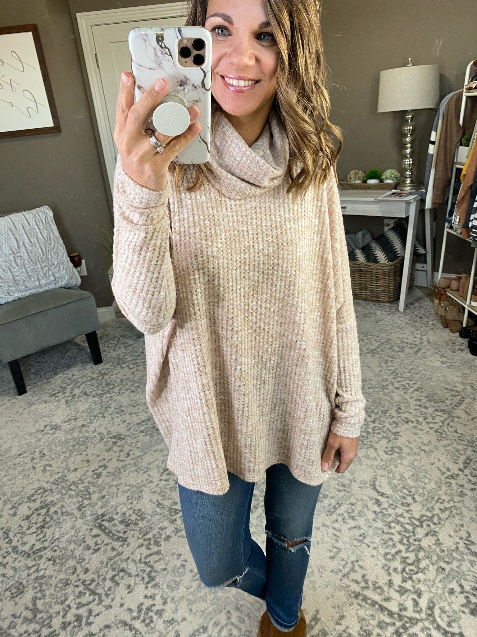 Soul Like Mine Solid Waffle Cowl Neck Dolman--Multiple Options