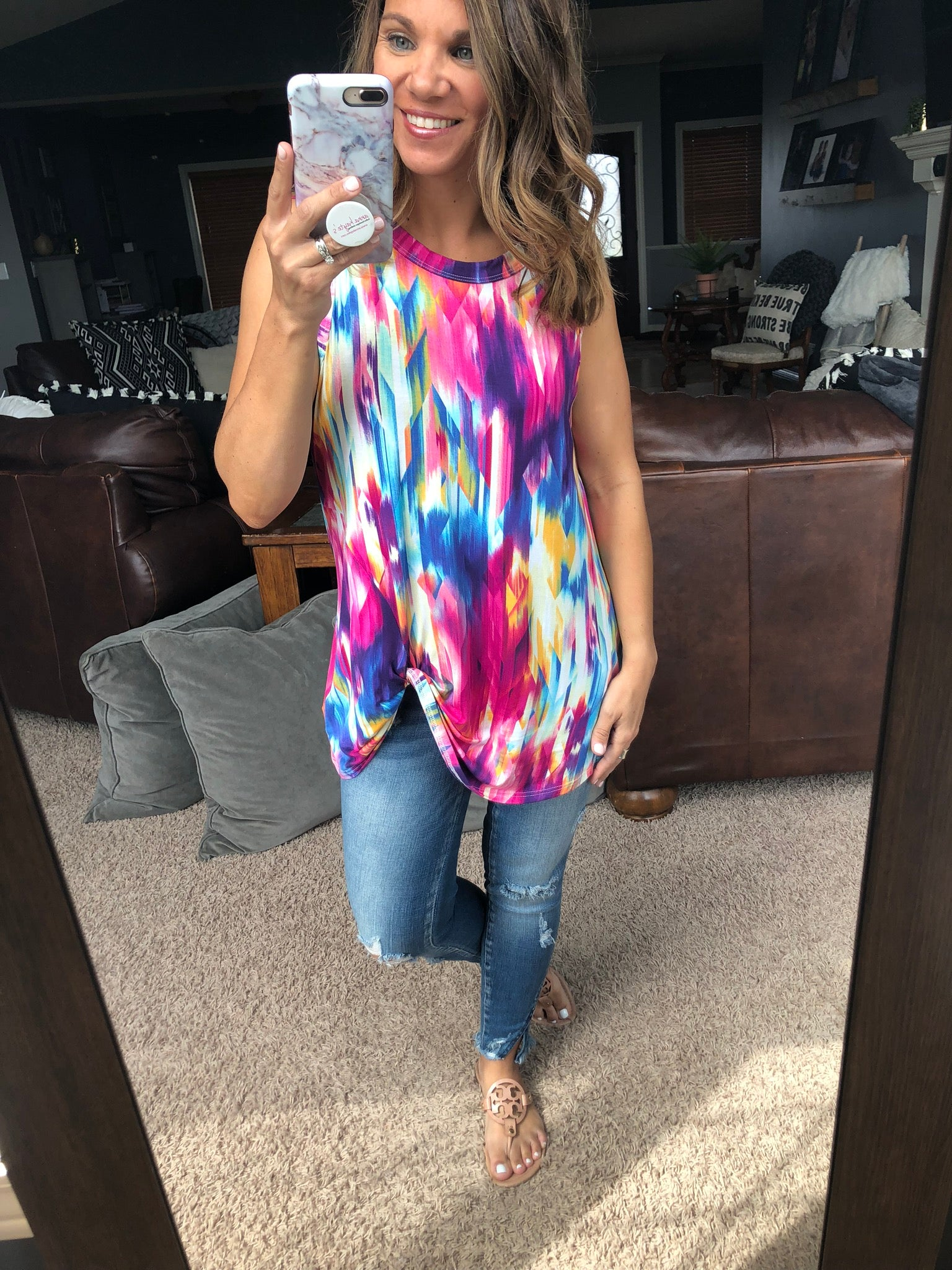 Colors of the Wind Front Twist Tank- Watercolor