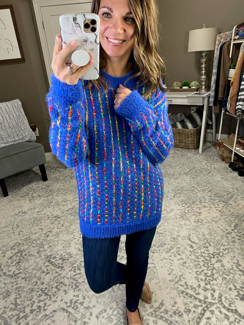 Cup of Cheer Knit Mohair Sweater- Multi Color Stripes, Cobalt Blue