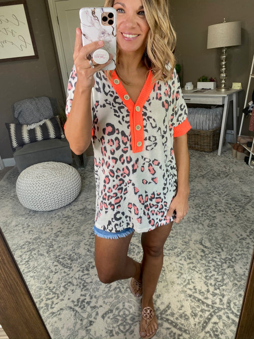 Fun In The Sun Cream & Coral Leopard Tee with Wooden Button Details