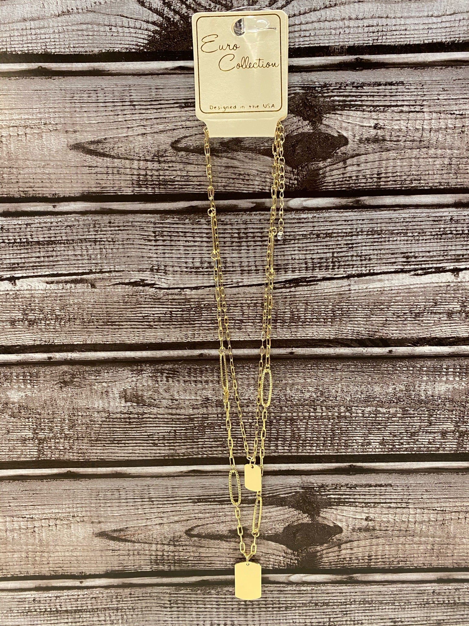 Maddy 2 Layer Gold Chain Necklace with Tags