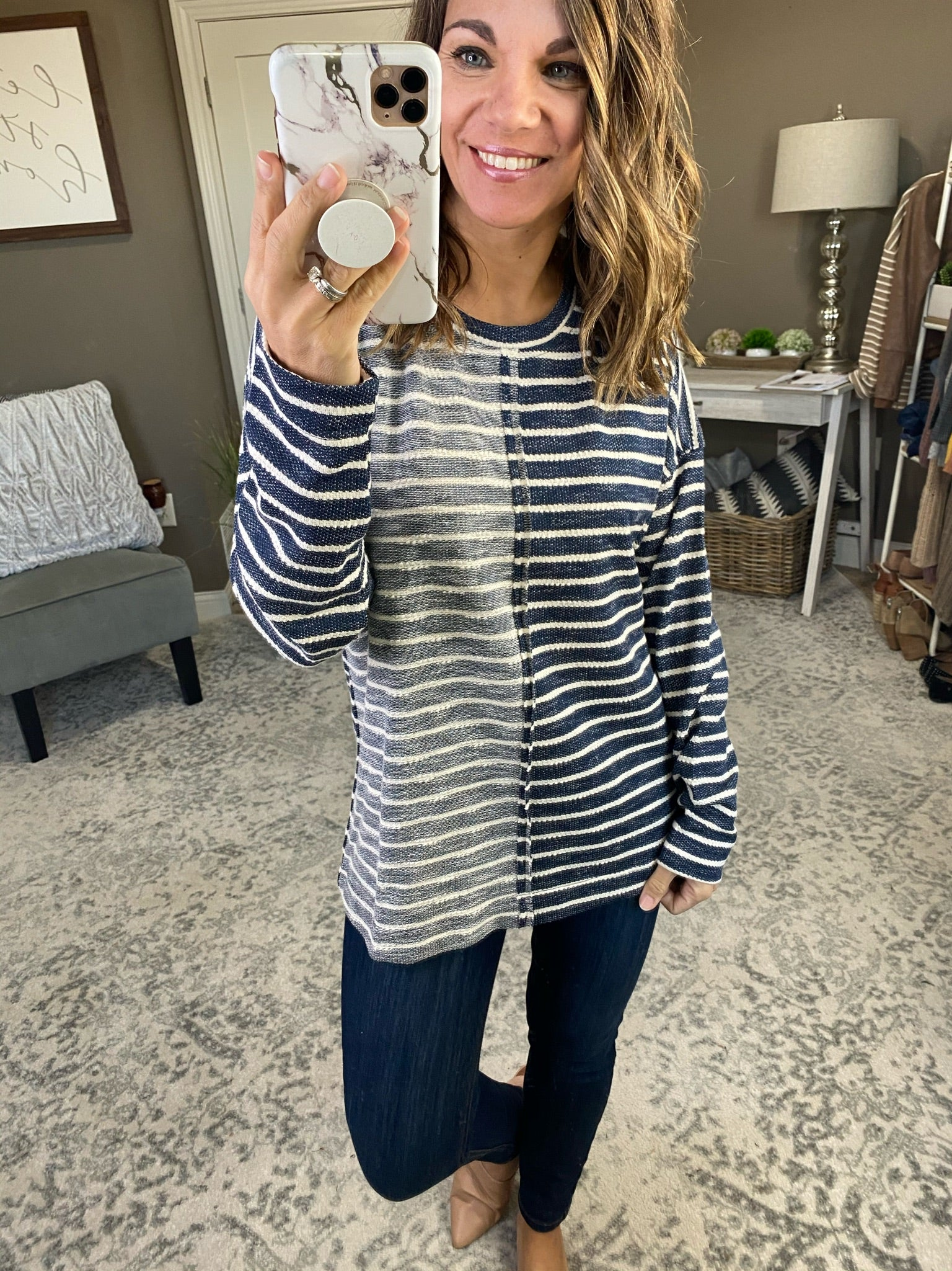 Joyful Occasion Two Toned Striped Sweater- Multiple Options