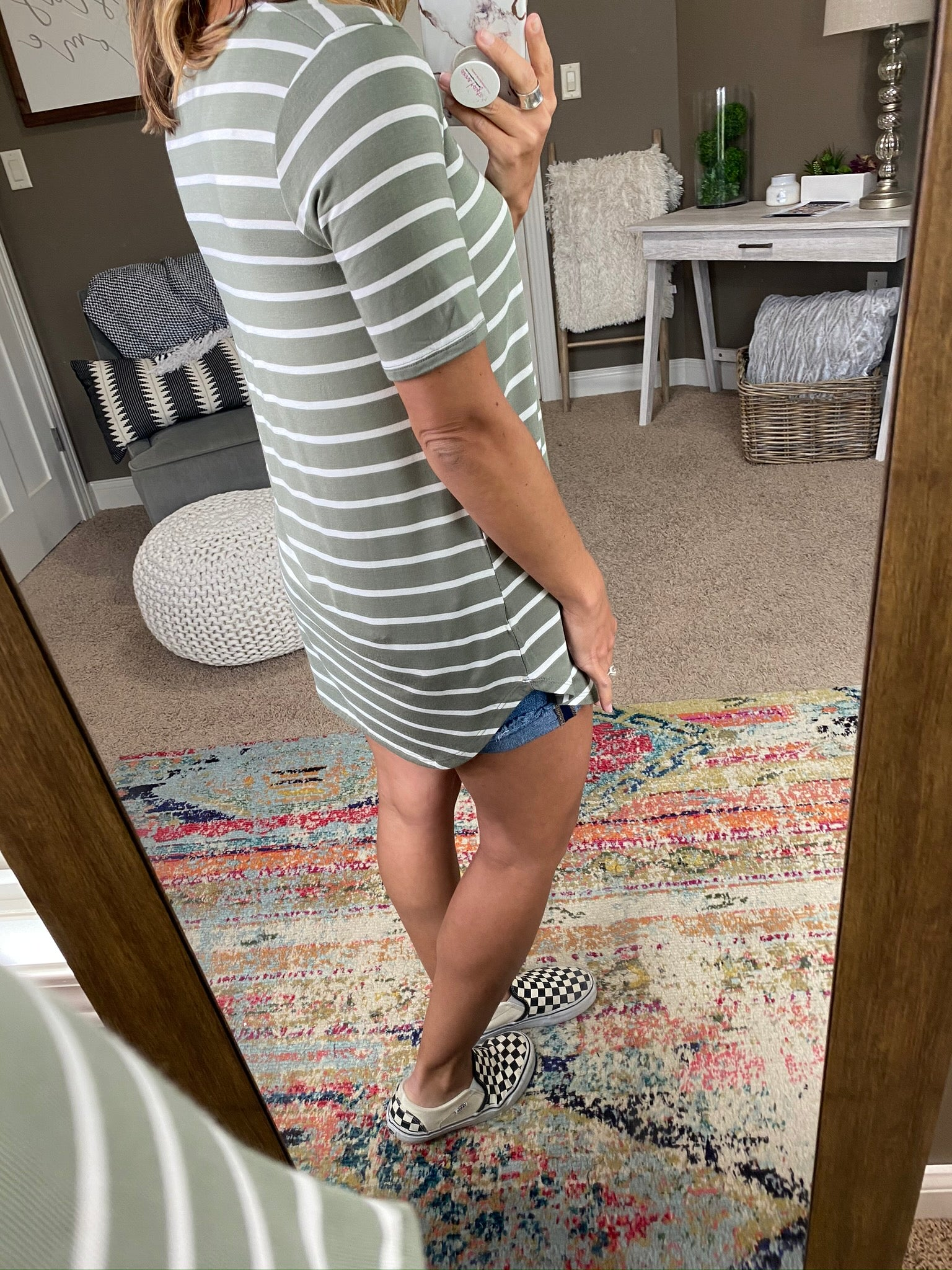 Work From Home Olive & Ivory Striped V Neck Tee