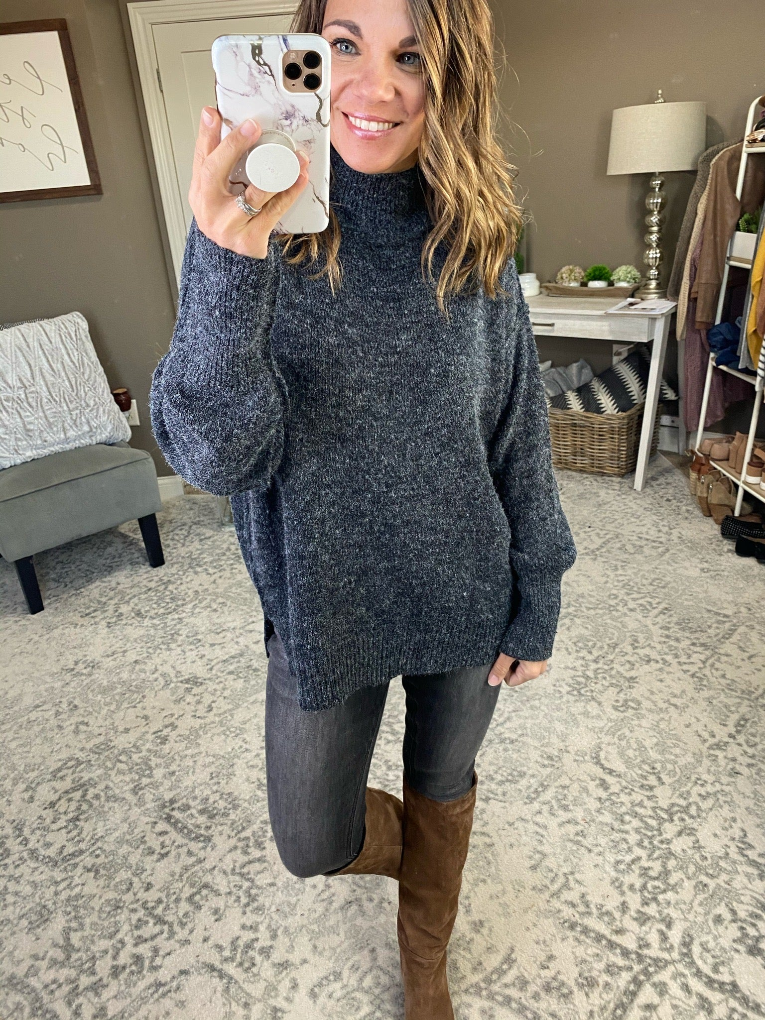 Snow Day Turtleneck Sweater with Split Hem and Exposed Seams- Multiple Options