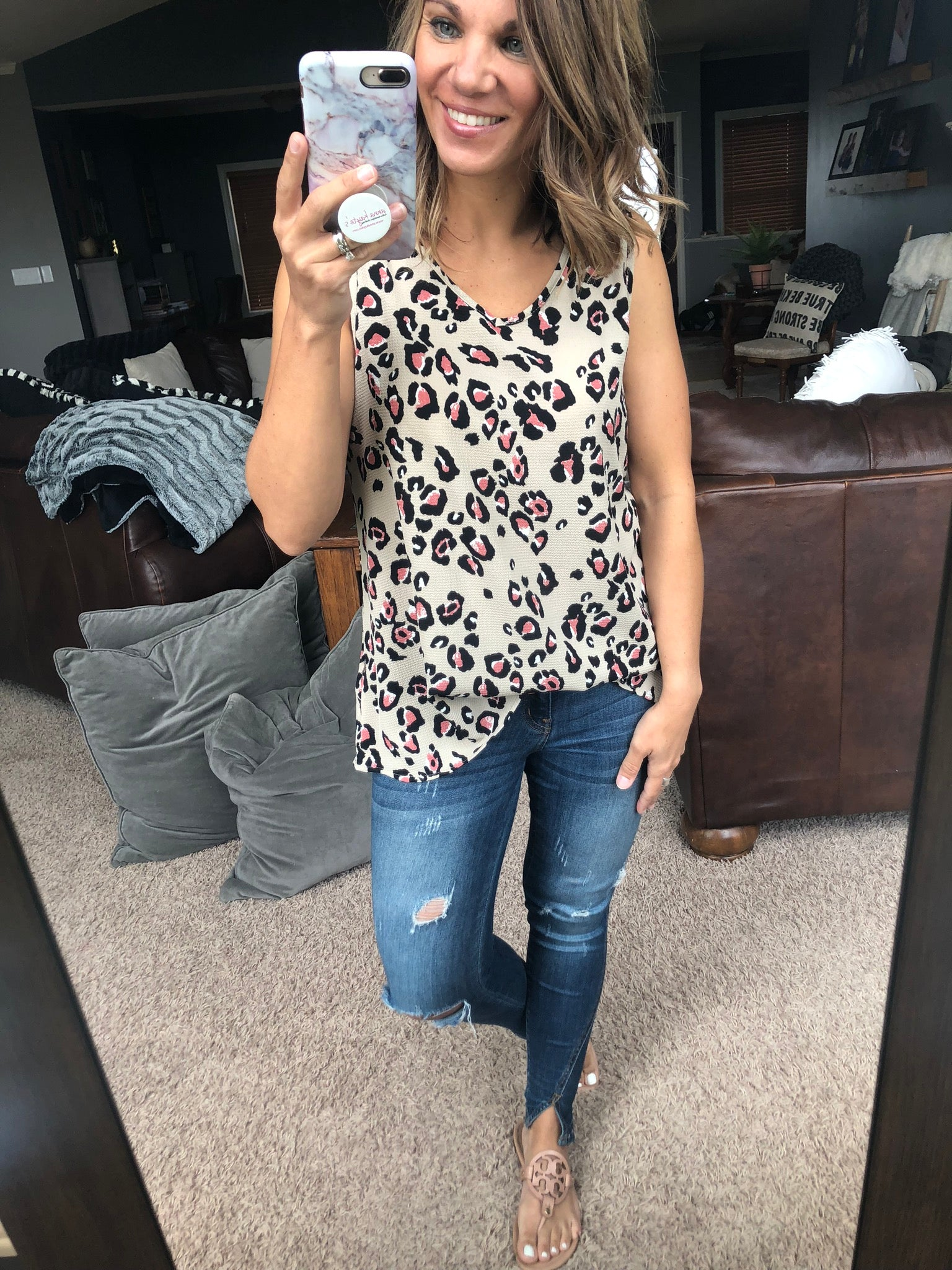 Rumor Mill Pink Cheetah Print Tan Tank