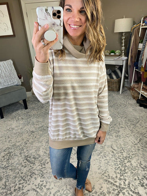 Show Me Around Striped Cowl Neck Long Sleeve--Multiple Options