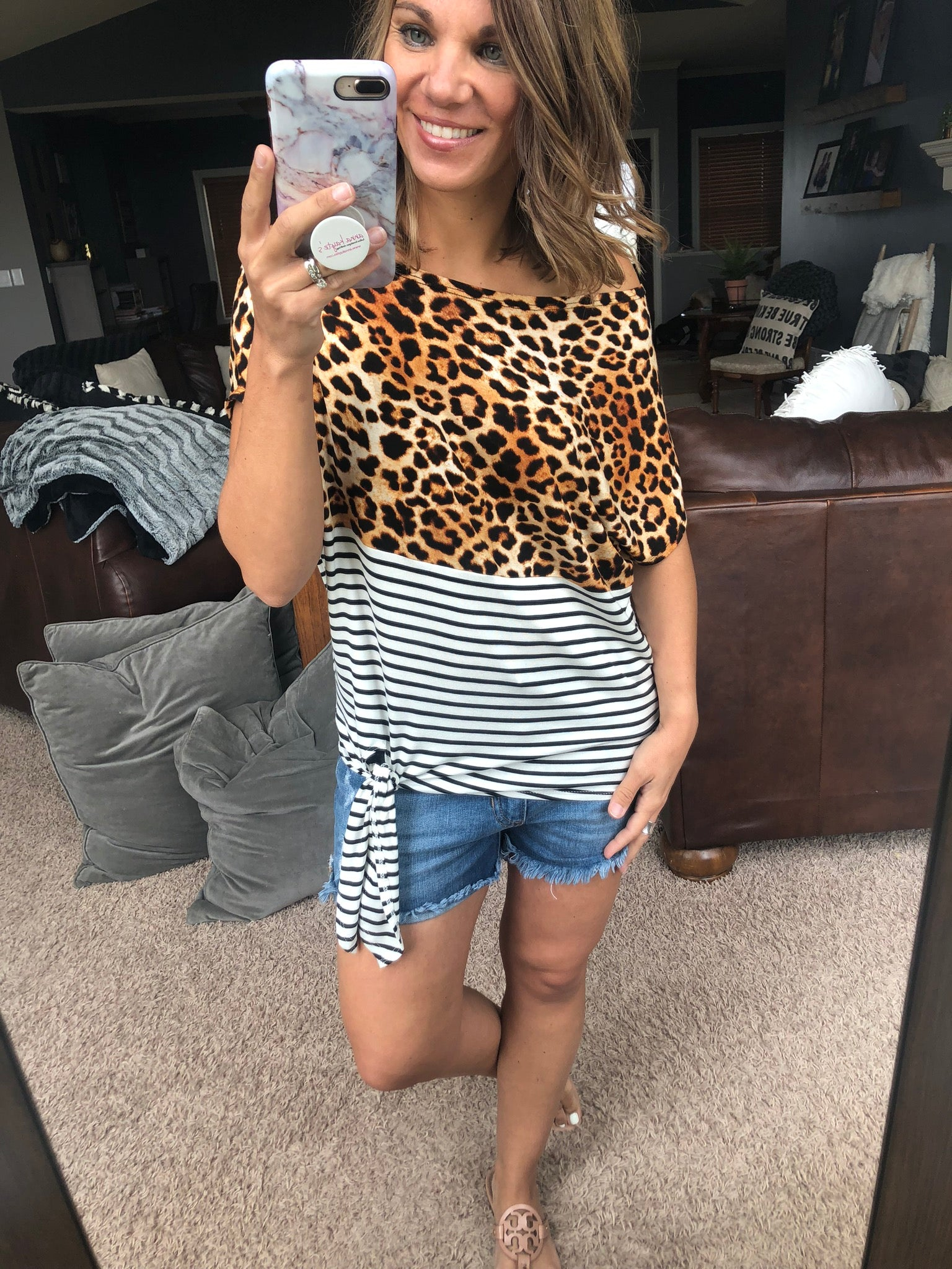 Eyes For You Cheetah & Stripe Off Shoulder Top w/ Front Knot