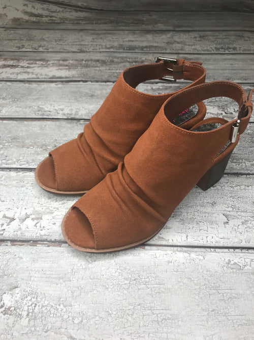 On A Break Split Suede Rust Heel