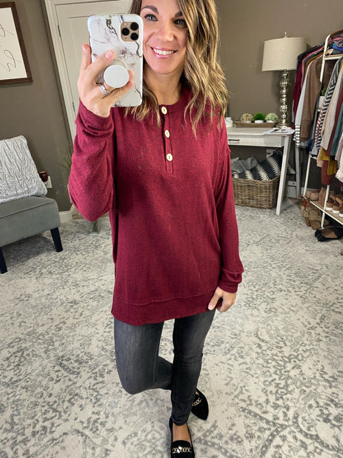 Nothing Better Brushed Fleece Long Sleeve with Buttons--Multiple Options