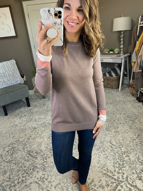 At The Office Mocha Crew Sweater with Striped Cuff Detail