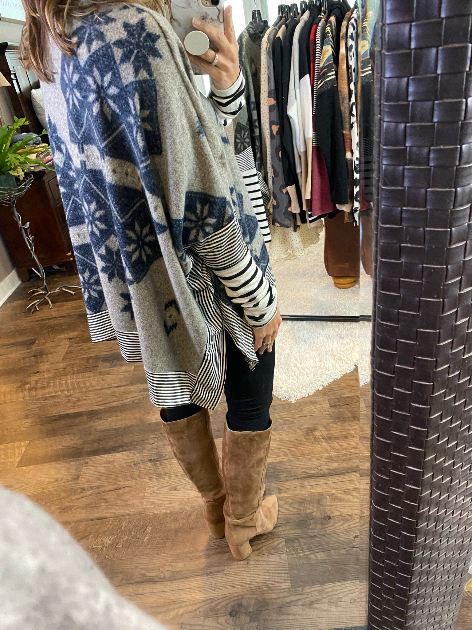 Just Drive Printed Poncho Top with Stripe Detail- Multiple Options