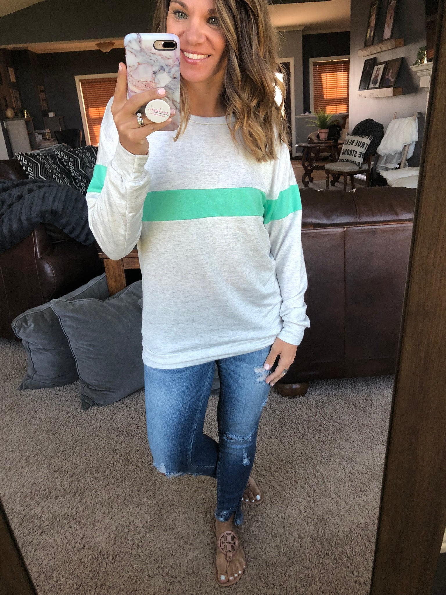 Wondering About You Varsity Stripe Grey Long Sleeve- Green