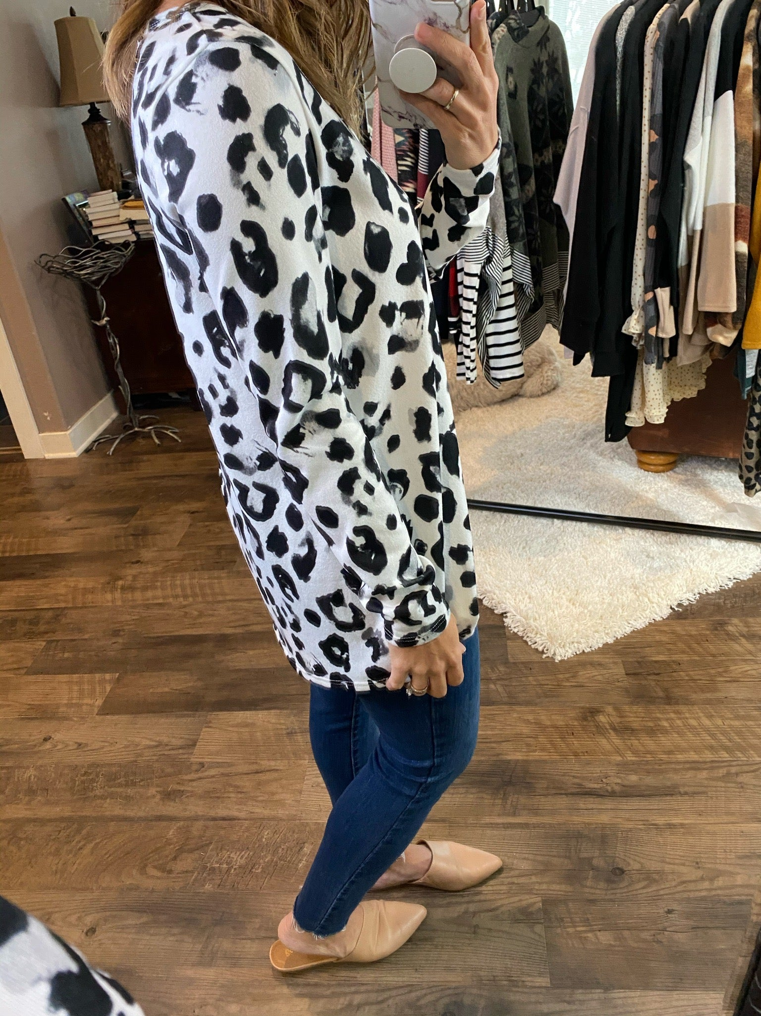 Snow Leopard Ivory and Charcoal V-Neck Long Sleeve